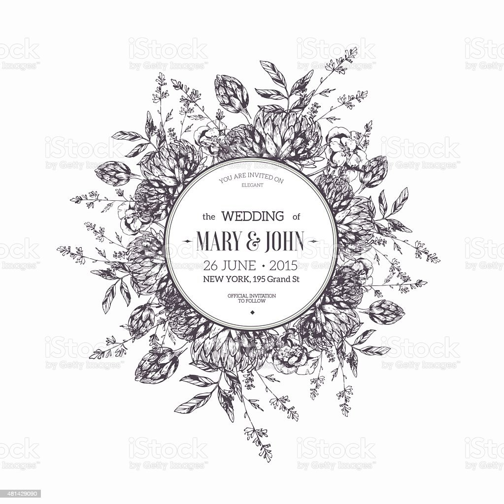 Round flower composition wedding invitation vector illustration wedding invitation vector illustration royalty free round flower composition wedding stopboris Images