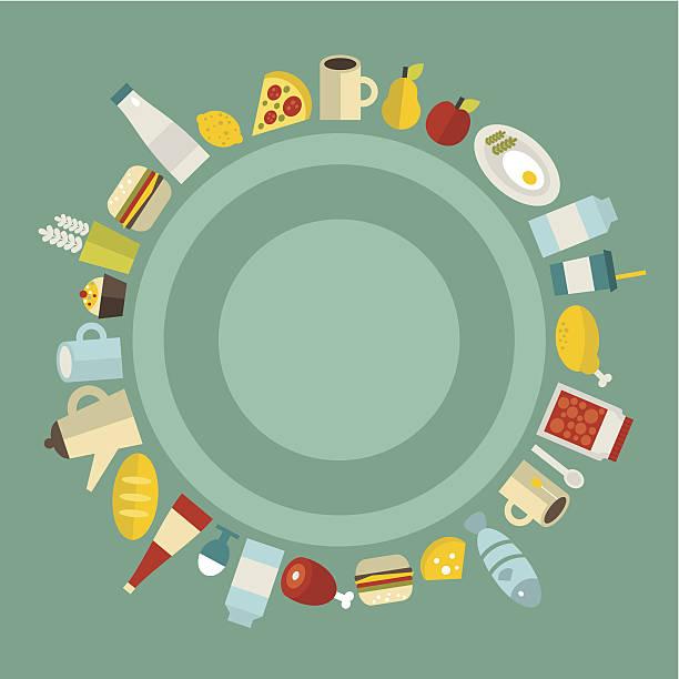 runde speisen rahmen. - pflaumenkuchen stock-grafiken, -clipart, -cartoons und -symbole