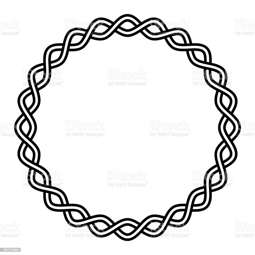 Round frame braided cable, wavy intersecting lines in circle, vector vignette pattern decoration, ornament vector art illustration