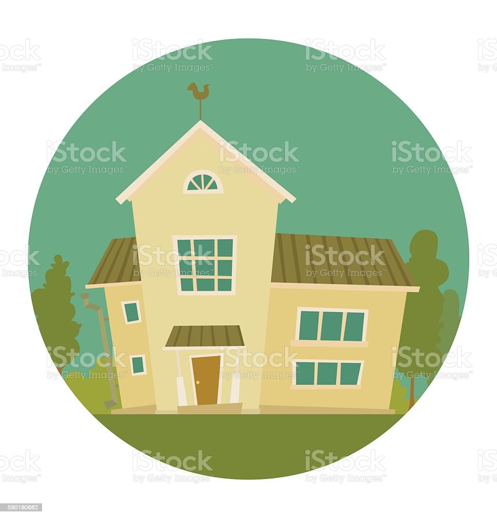 Ilustracion De Round Frame Cute Light Yellow House Y Mas Vectores