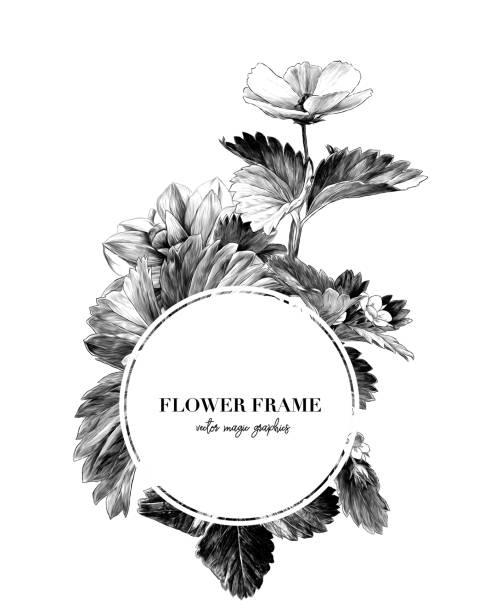 round frame decorated with flowers and strawberry leaves – artystyczna grafika wektorowa