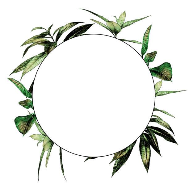 round frame decorated with leaves – artystyczna grafika wektorowa