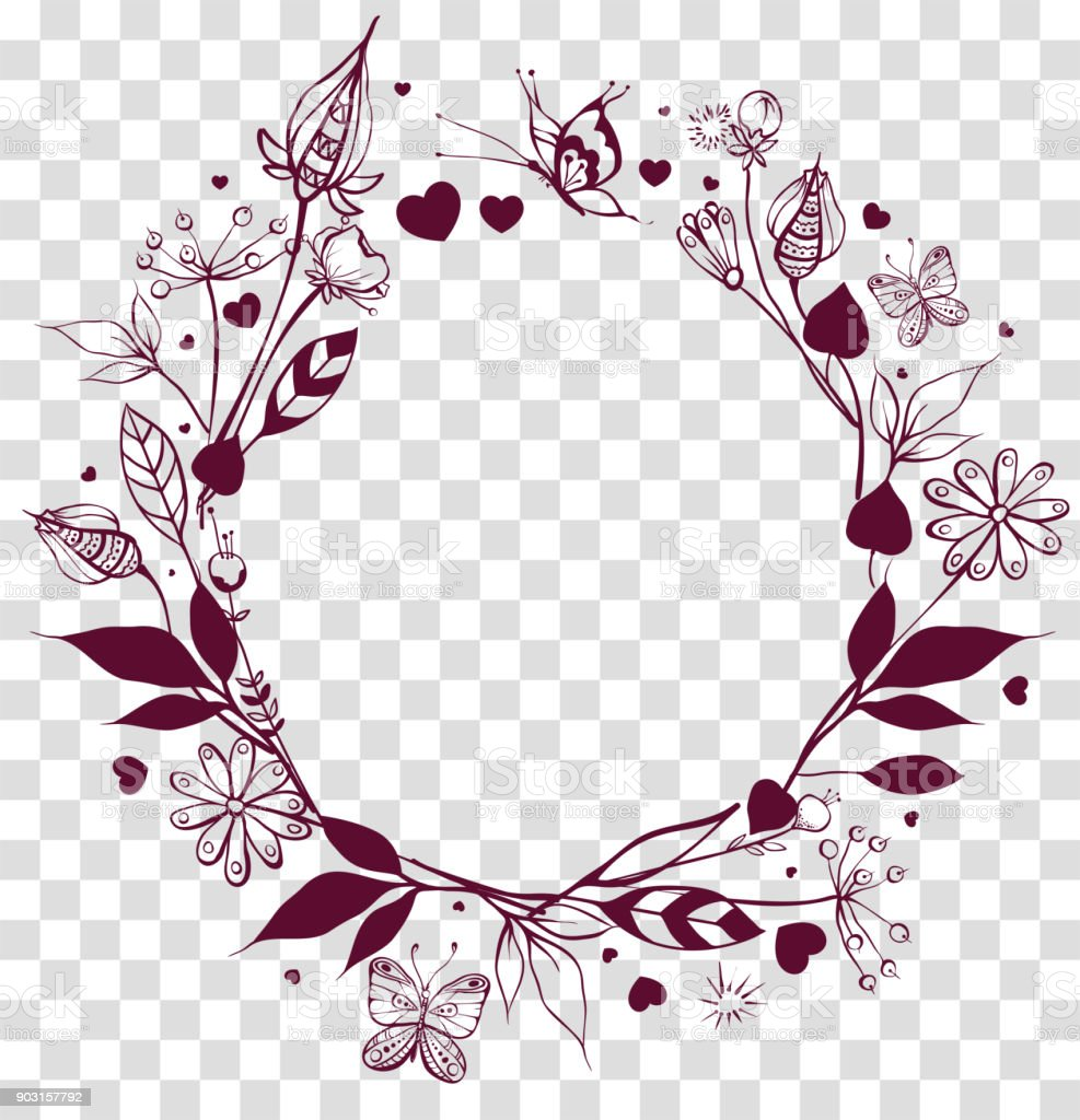 round frame floral ornament on transparent background flowers and