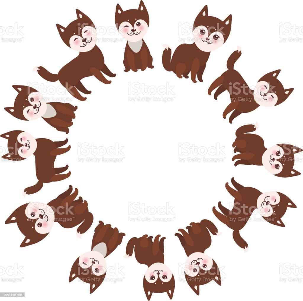 Runde Rahmen Für Ihren Text Lustige Brauner Husky Hund Kawaii ...