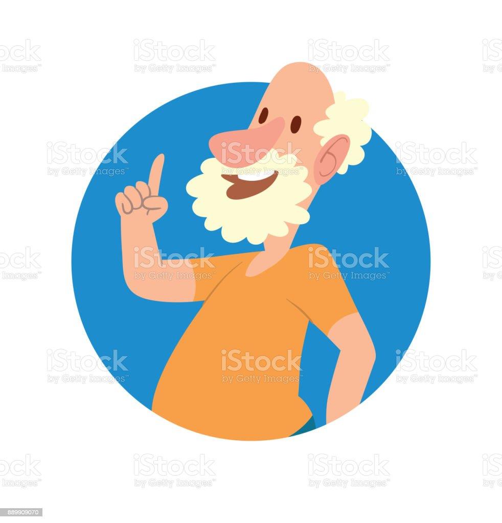 Runde Rahmen Lustige Glatzenbildung Alter Mann Mit Lockigem Haar