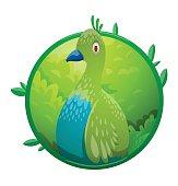 Round frame, funny fantasy tropical green-blue bird
