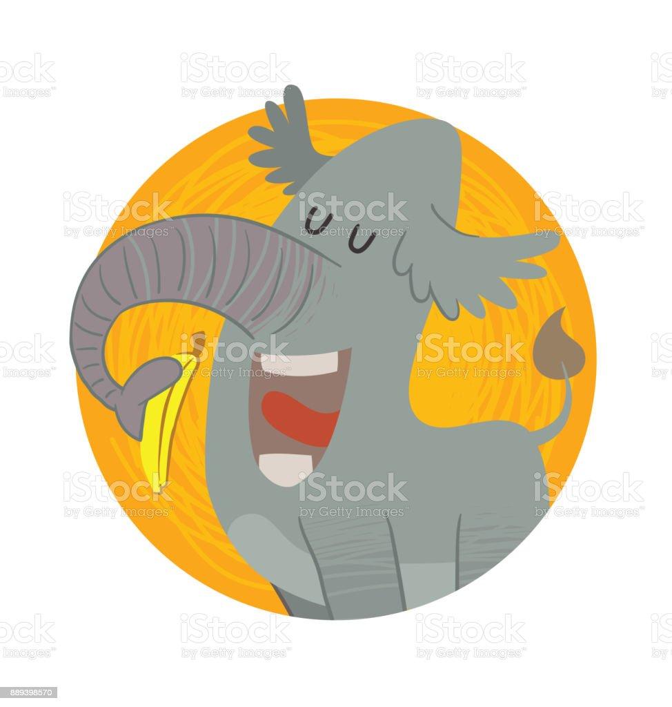 Runde Rahmen Lustige Graue Elefant Eine Gelbe Banane Essen Stock ...