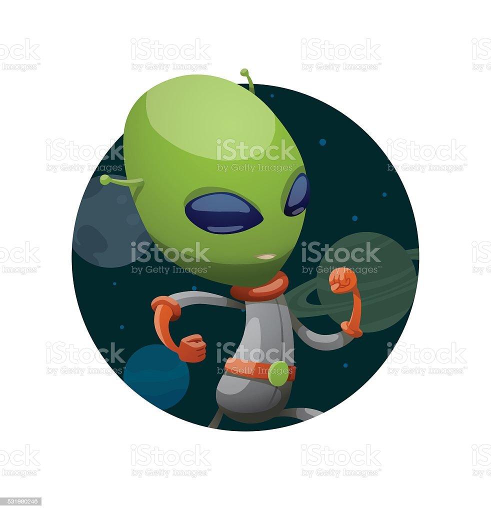 Runde Rahmen Lustige Grüne Alien Rennen Irgendwo Vektor Illustration ...