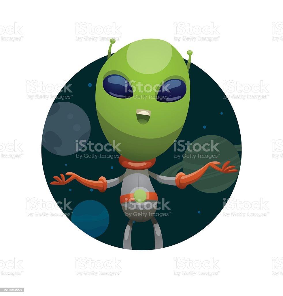 Runde Rahmen Lustige Grüne Alien Lächeln Und Die Vektor Illustration ...