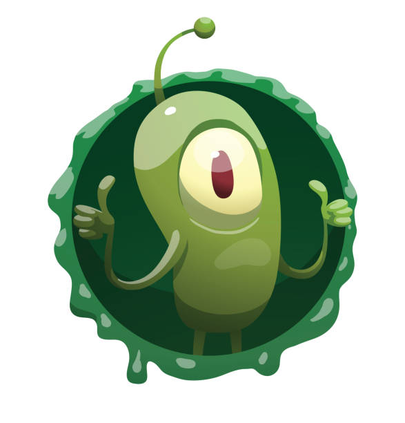 Round frame, funny green microbe showing thumbs up vector art illustration