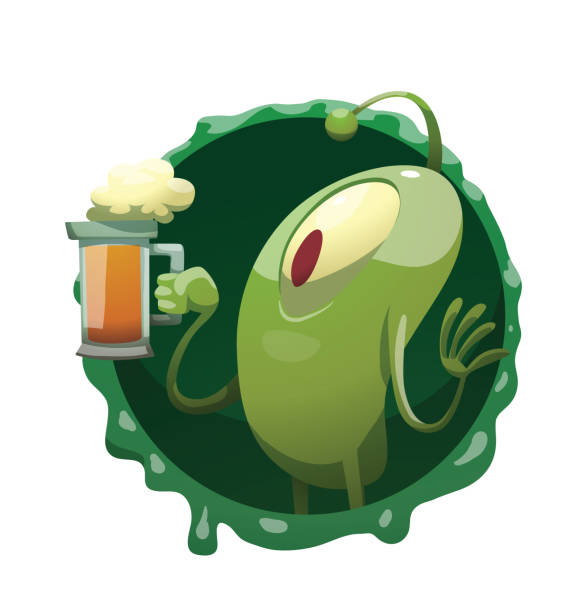 Round frame, funny green microbe with a mug of beer vector art illustration