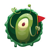 Vector round dark green frame with mucus and with cartoon image of a funny green microbe with one big eye, with an antenna, with arms and legs, standing with a red flag in hand on a white background.
