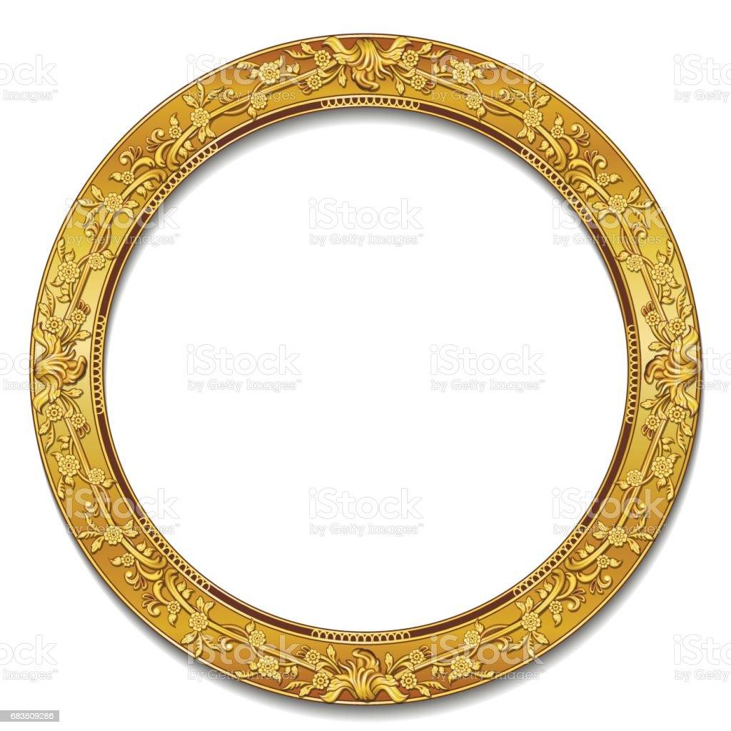 Farbe Gold Runden Rahmen Mit Schatten Stock Vektor Art und mehr ...