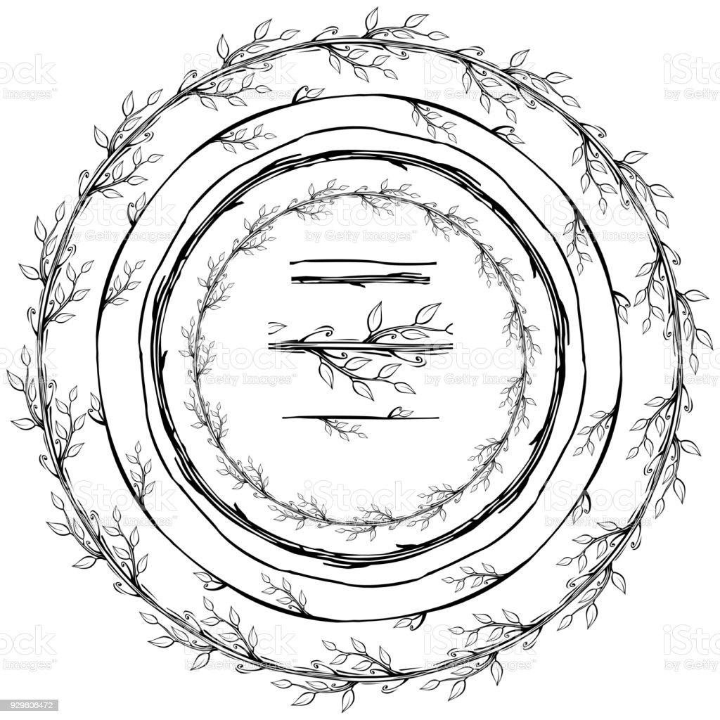 Runde Rahmen Aus Floralen Zweige Stock Vektor Art und mehr Bilder ...