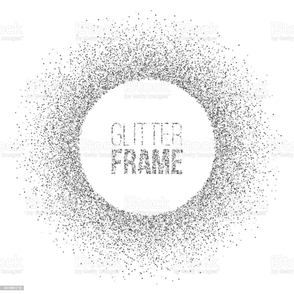 Ilustración de Marco Redondo De Glitter Plata Aislado Sobre Fondo ...