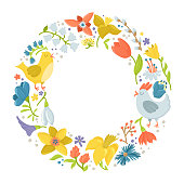 Round frame made of spring flowers, hen and rooster, easter greeting card template, decoration element, cute cartoon vector illustration isolated on white background