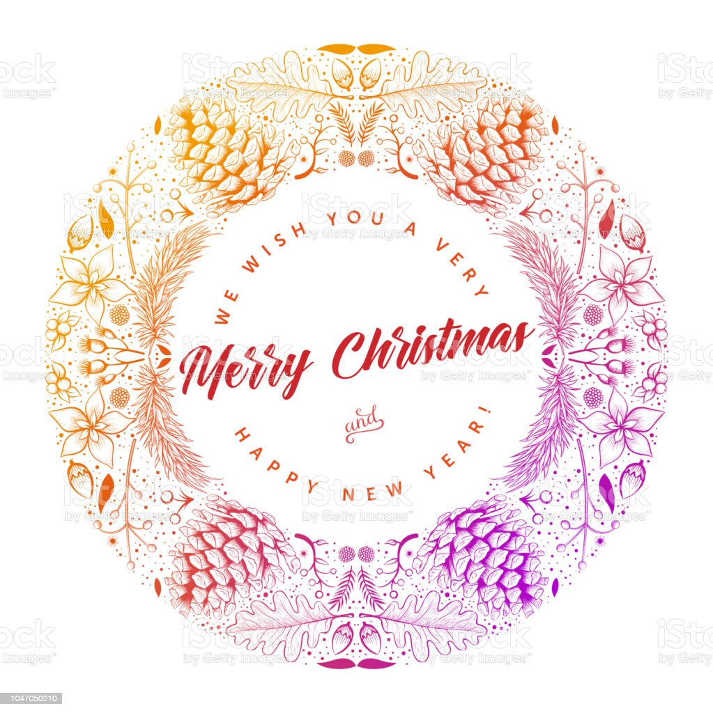 round frame merry christmas card design royalty free round frame merry christmas card design stock - Christmas Card Design