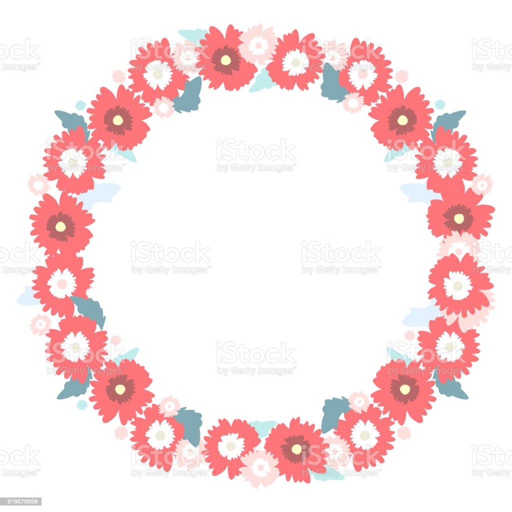 Ilustración de Marco Redondo De Hermosas Flores Rojas Y Hojas Sobre ...