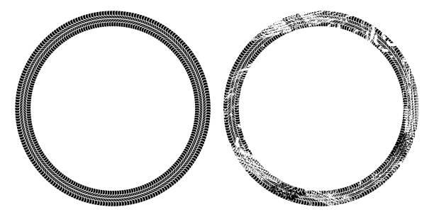 stockillustraties, clipart, cartoons en iconen met ronde frame van autobanden tracks geïsoleerd op witte achtergrond, vector achtergrond - bandenspoor