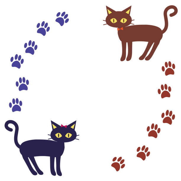 Round frame of cats and footprints vector art illustration