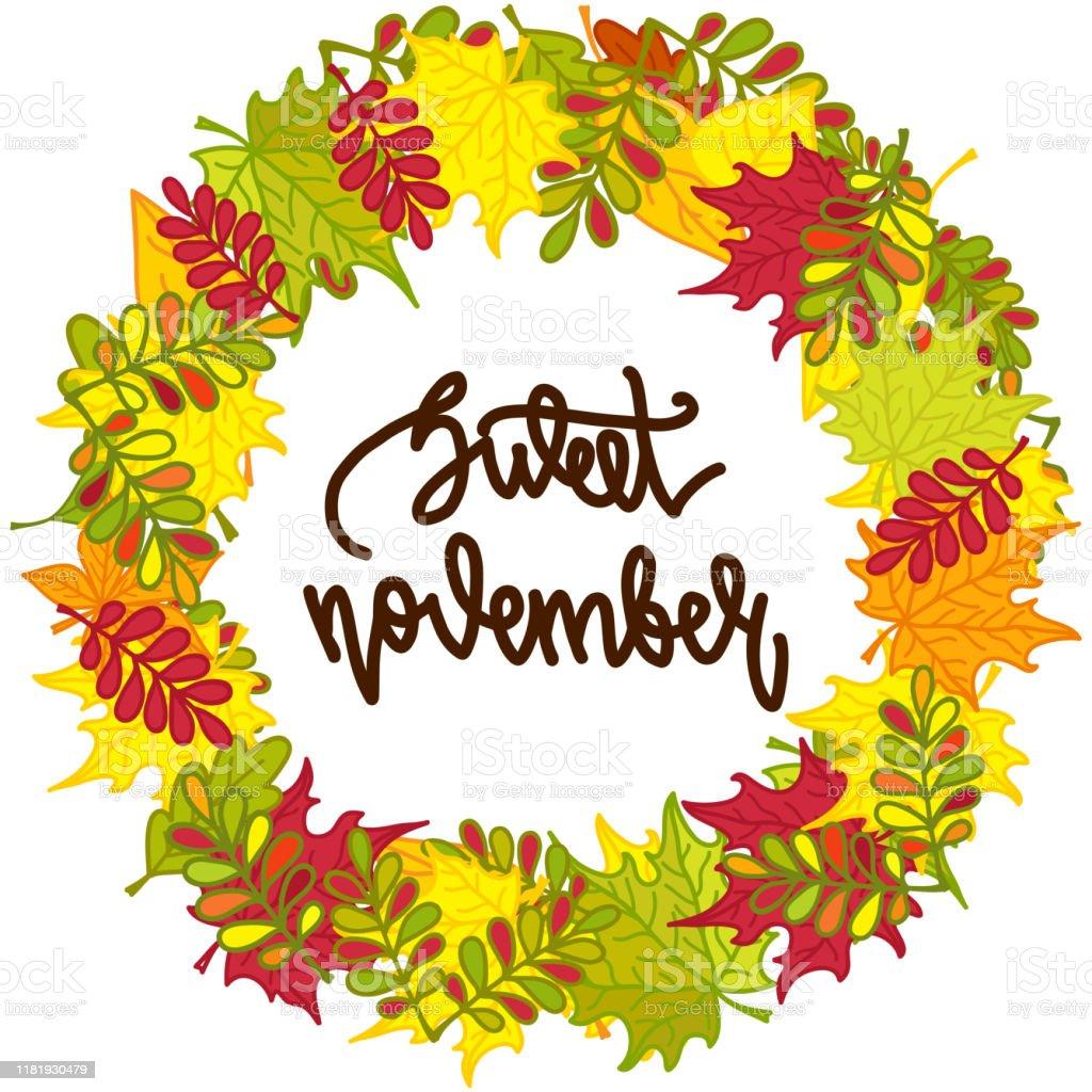 色とりどりの紅葉の丸枠と手書きの文字甘い11月秋の花輪ポスターカード招待状などのために白い背景に隔離されたベクトルイラスト イラストレーションのベクターアート素材や画像を多数ご用意 Istock