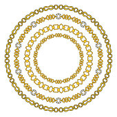 round frame of figured gold chains set isolated on white background