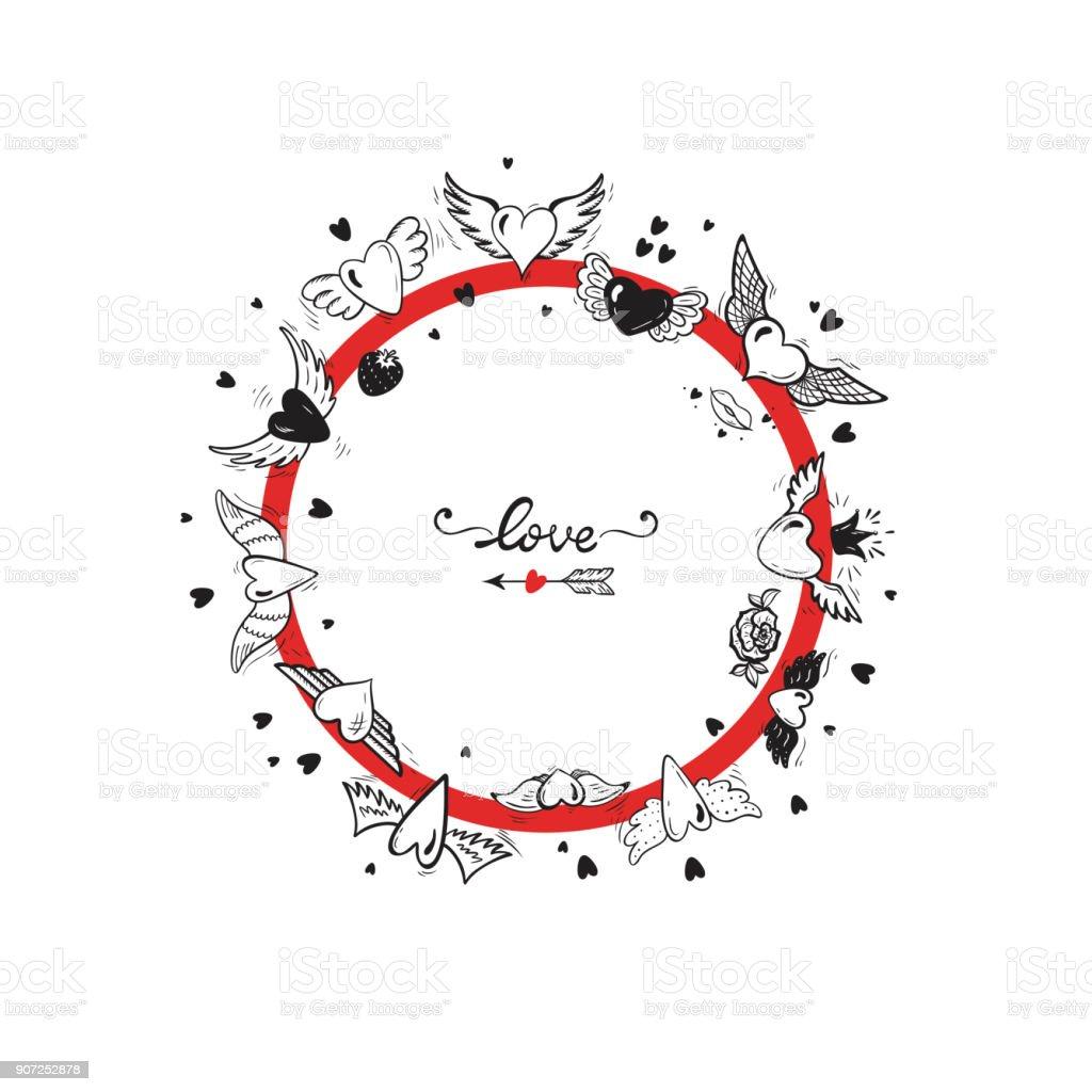 Runde Rahmen Herz Mit Flügeln Für Hochzeit Oder Valentinstag ...