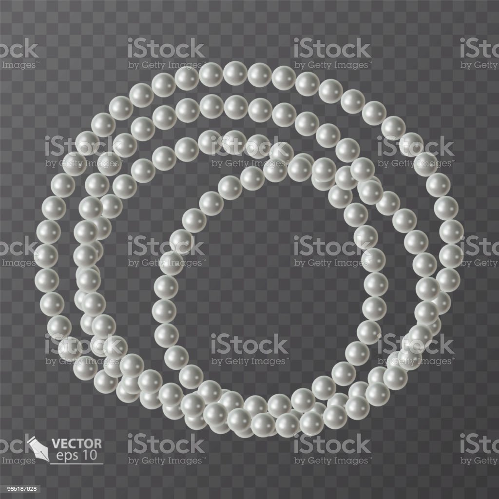 Round Frame Of Realistic Pearls Decoration For Your Postcard Wedding