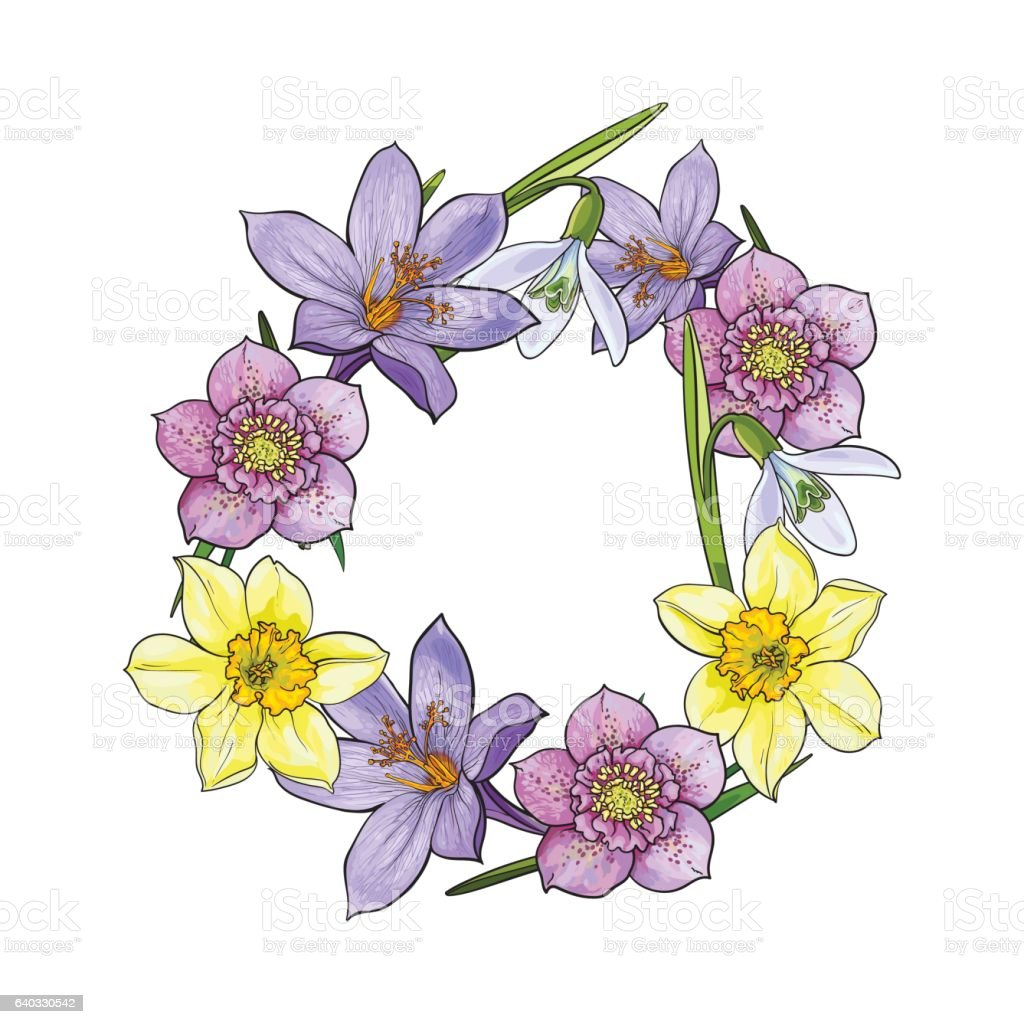 Round Frame Of Spring Flowers Decoration Element Sketch Vector