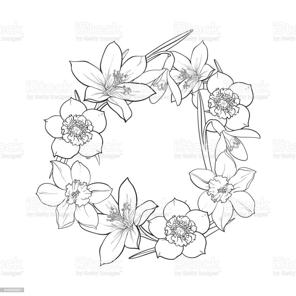 Line Drawing Spring Flowers : Round frame of spring flowers decoration element sketch