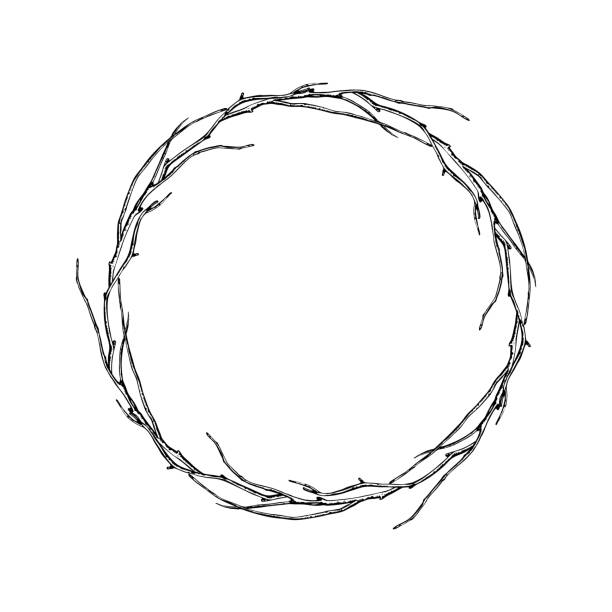round frame of twisted branches. - vine stock illustrations, clip art, cartoons, & icons