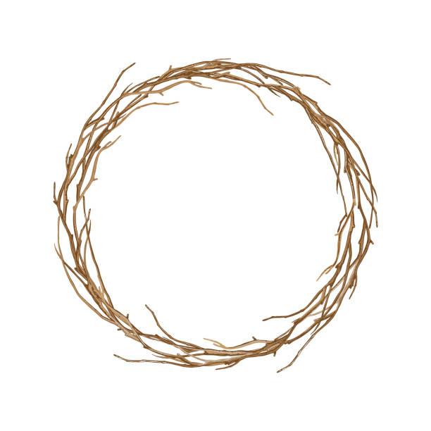 okrągła rama skręconych gałęzi. - gałązka stock illustrations