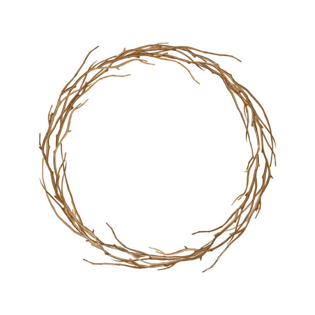 round frame of twisted branches. - gałązka stock illustrations