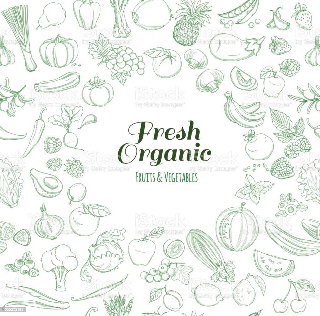 Ilustración de Patrón De Marco Redondo De Granja Orgánicos Frutas Y ...