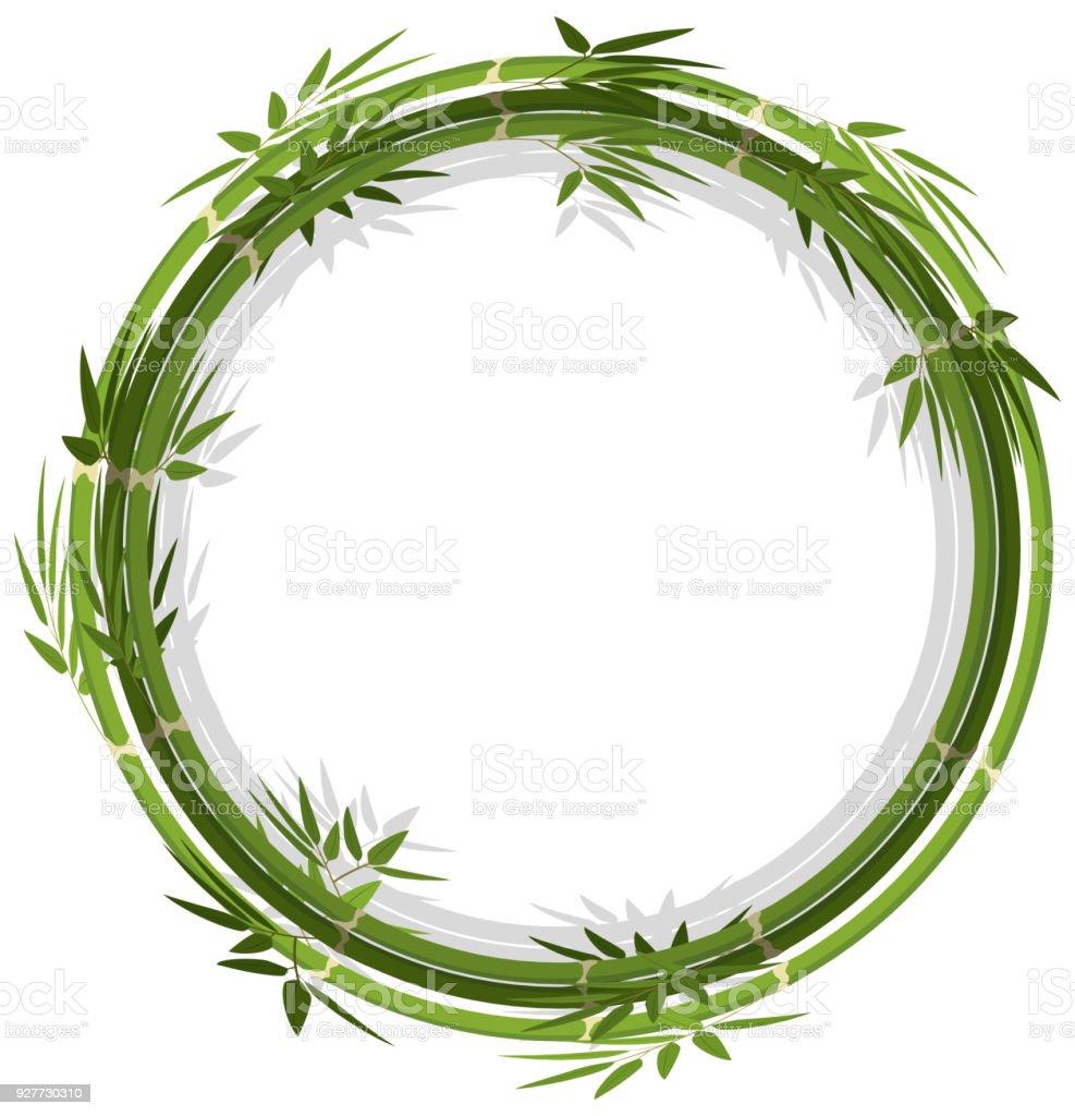 Runde Rahmen Vorlage Mit Grüner Bambus Stock Vektor Art und mehr ...
