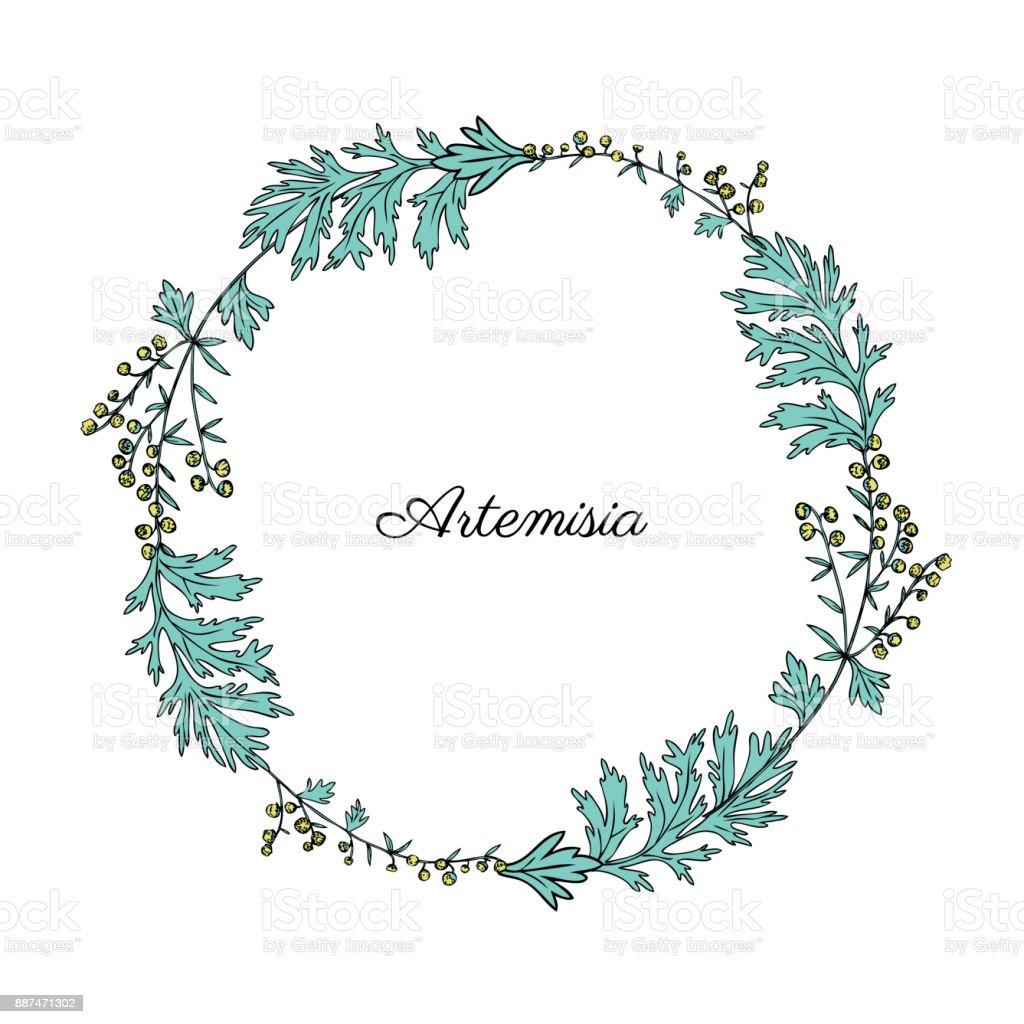 Round Frame With Artemisia Vulgaris Wreath Common Wormwood