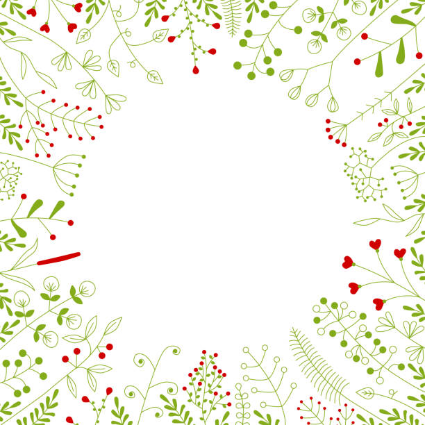 round frame with beautiful flowers vector art illustration