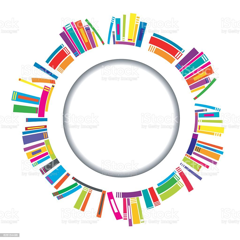 Round frame with books vector art illustration