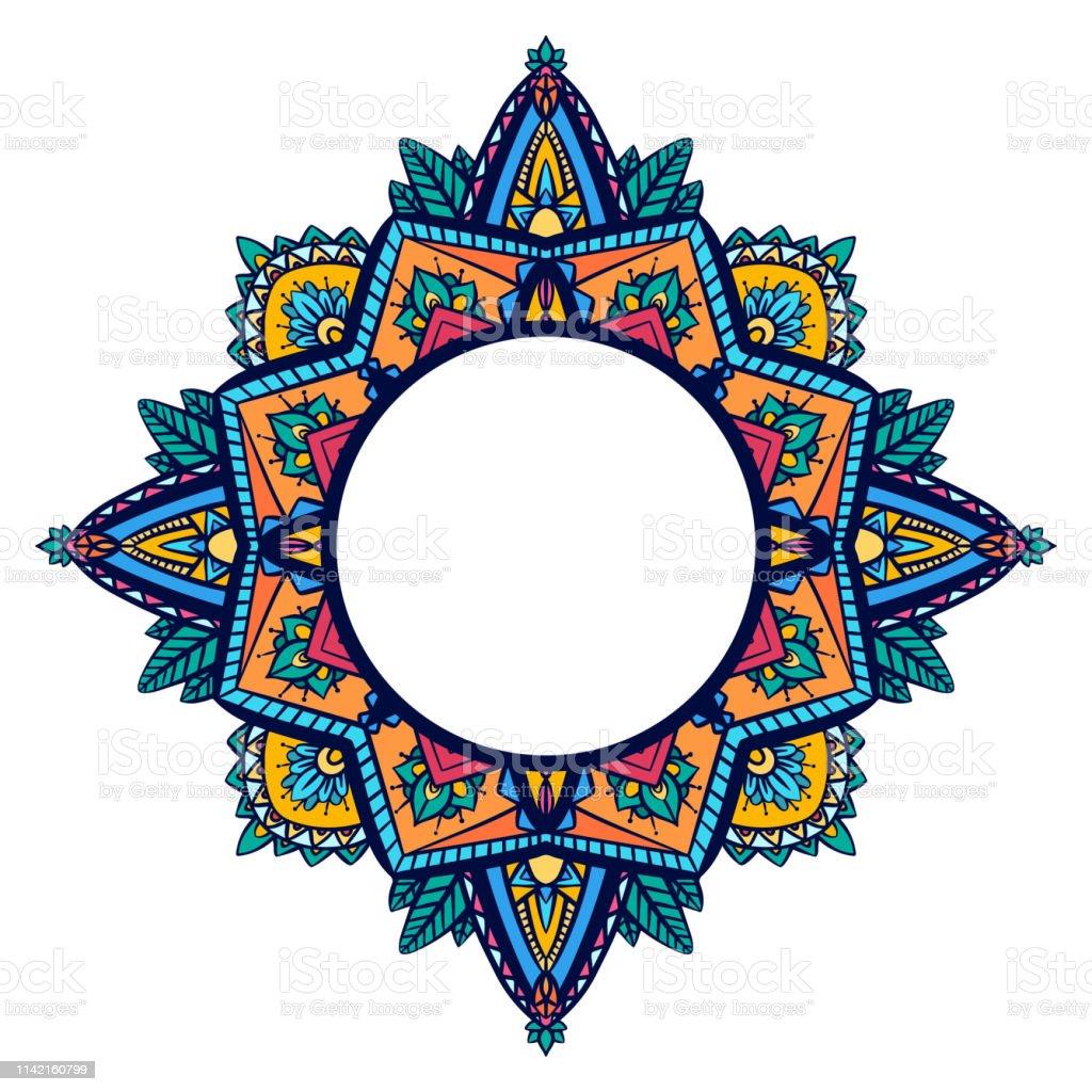 Cadre Rond Avec Mandala Coloriage Zen Lobjet Est Distinct De Larriereplan Modele De Doodle Delicat Vecteur Vecteurs Libres De Droits Et Plus D Images Vectorielles De Abstrait Istock