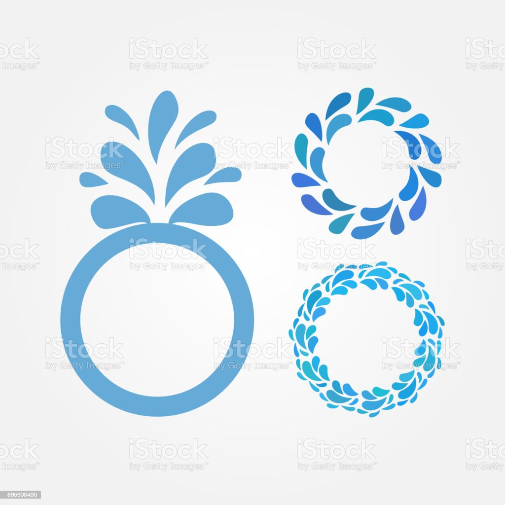 Quadro redondo com gotas de água. Conjunto de três fronteiras azuis isolados. - ilustração de arte em vetor