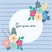Round frame with flowers ornament and free space for your text. Vector illustration