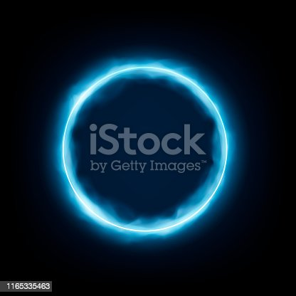 Round frame with glowing and light. Neon round frame with smoke Banner design on dark blue backdrop