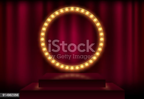 Round frame with glowing shiny light bulbs, vector illustration. Shining party banner on red curtain background and stage podium. Signboard with lamps border for lottery, casino, poker, roulette.
