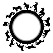 Round frame with black horse silhouettes