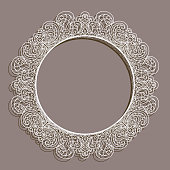 Vintage round frame with lace border pattern, cutout paper ornament on neutral background, vector circle decoration for wedding invitation design