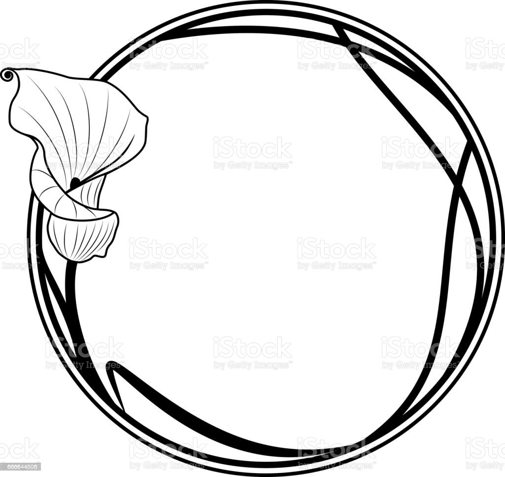 round frame with lily vector art illustration