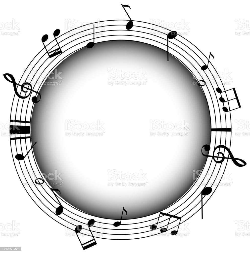 Runde Rahmen Mit Musicnotes Und Grauen Hintergrund Stock Vektor Art ...
