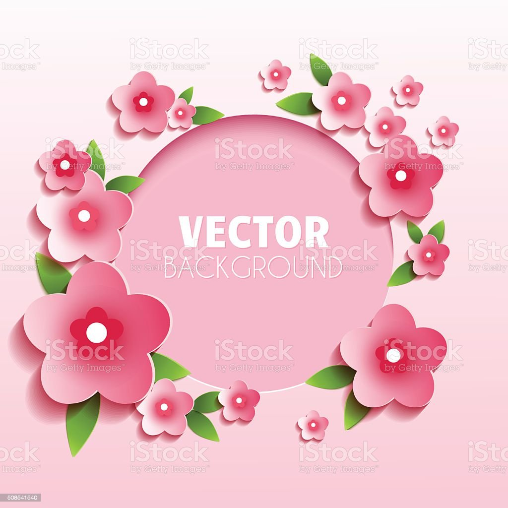 Round Frame With Pink Flowers Stock Vector Art More Images Of