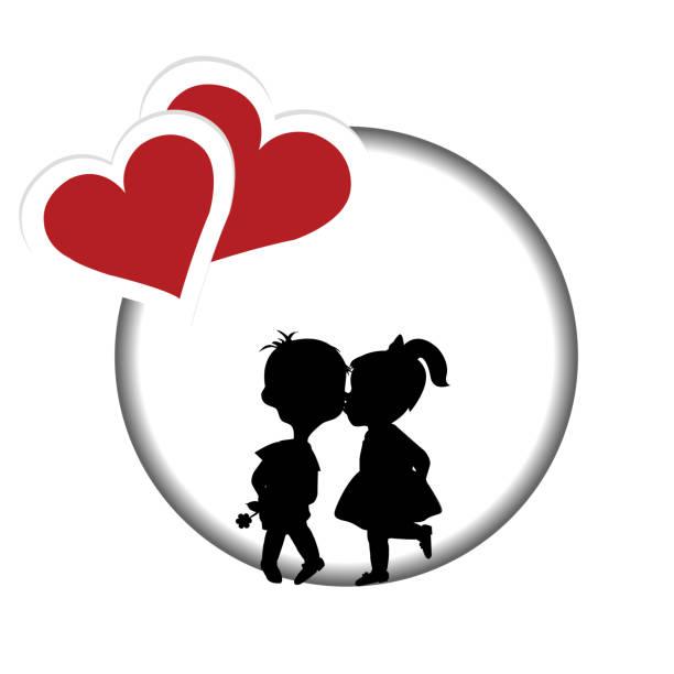 illustrazioni stock, clip art, cartoni animati e icone di tendenza di round frame with silhouette of a boy and a girl kissing - compagni scuola