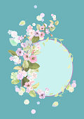 Round frame with spring blossom (bloom), branches with mauve, pink apple tree flowers, buds, green leaves on turquoise background. Digital draw, illustration in watercolor style, vintage, vector
